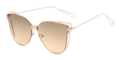 Angle of Deja #4132 in Gold Frame with Light Amber Lenses, Women's Cat Eye Sunglasses