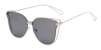 Angle of Deja #4132 in Silver Frame with Grey Lenses, Women's Cat Eye Sunglasses