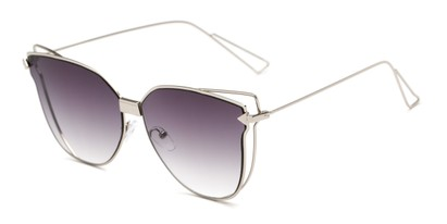 Angle of Deja #4132 in Silver Frame with Smoke Lenses, Women's Cat Eye Sunglasses