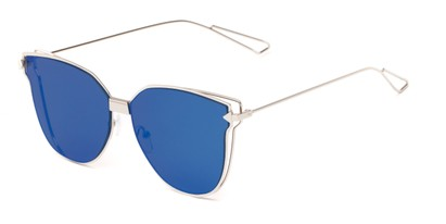 Angle of Bastille #4133 in Silver Frame with Blue Mirrored Lenses, Women's Cat Eye Sunglasses