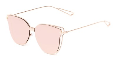Angle of Bastille #4133 in Rose Gold Frame with Pink Mirrored Lenses, Women's Cat Eye Sunglasses