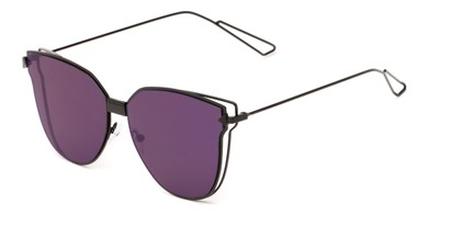 Angle of Bastille #4133 in Black Frame with Purple Mirrored Lenses, Women's Cat Eye Sunglasses