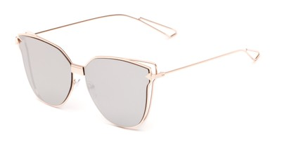 Angle of Bastille #4133 in Rose Gold Frame with Silver Mirrored Lenses, Women's Cat Eye Sunglasses