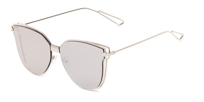 Angle of Bastille #4133 in Silver Frame with Silver Mirrored Lenses, Women's Cat Eye Sunglasses