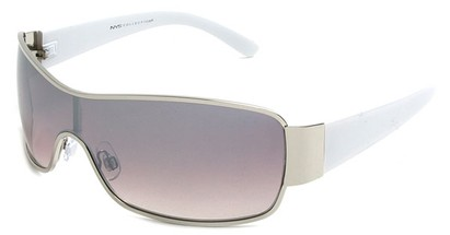 Angle of Elko #1705 in Silver and White Frame, Women's and Men's Square Sunglasses
