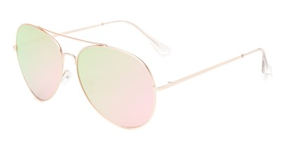 Angle of Royale #4167 in Rose Gold Frame with Pink/Green Mirrored Lenses, Women's Aviator Sunglasses