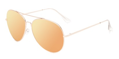 Angle of Royale #4167 in Gold Frame with Orange Mirrored Lenses, Women's Aviator Sunglasses