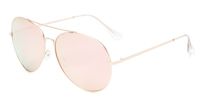 Angle of Royale #4167 in Rose Gold Frame with Pink Mirrored Lenses, Women's Aviator Sunglasses