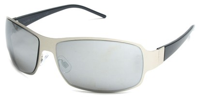 Angle of Himalaya #9718 in Silver and Black Frame with Mirrored Lenses, Women's and Men's Square Sunglasses