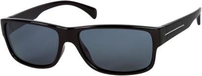 Angle of Barens #7580 in Black with Smoke, Men's Square Sunglasses