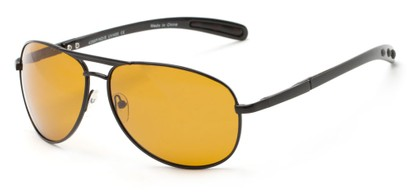 Angle of Byron #4286 in Black Frame with Dark Yellow Lenses, Women's and Men's Aviator Sunglasses