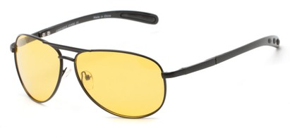 Angle of Byron #4286 in Black Frame with Light Yellow Lenses, Women's and Men's Aviator Sunglasses