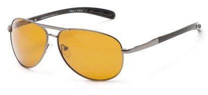 Angle of Byron #4286 in Grey Frame with Dark Yellow Lenses, Women's and Men's Aviator Sunglasses