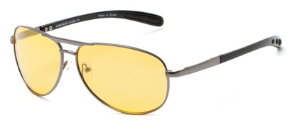 Angle of Byron #4286 in Grey Frame with Light Yellow Lenses, Women's and Men's Aviator Sunglasses