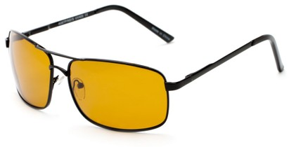 Angle of Newfoundland #4287 in Glossy Black Frame with Dark Yellow Lenses, Women's and Men's Aviator Sunglasses