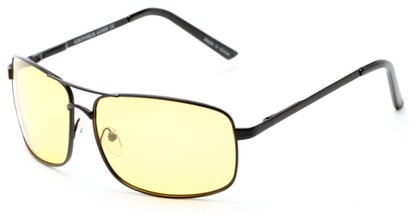Angle of Newfoundland #4287 in Glossy Black Frame with Light Yellow Lenses, Women's and Men's Aviator Sunglasses