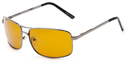 Angle of Newfoundland #4287 in Glossy Grey Frame with Dark Yellow Lenses, Women's and Men's Aviator Sunglasses