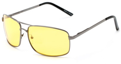 Angle of Newfoundland #4287 in Glossy Grey Frame with Light Yellow Lenses, Women's and Men's Aviator Sunglasses