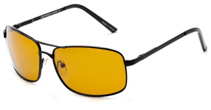 Angle of Newfoundland #4287 in Matte Black Frame with Dark Yellow Lenses, Women's and Men's Aviator Sunglasses