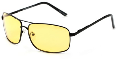 Angle of Newfoundland #4287 in Matte Black Frame with Light Yellow Lenses, Women's and Men's Aviator Sunglasses