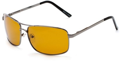 Angle of Newfoundland #4287 in Matte Grey Frame with Dark Yellow Lenses, Women's and Men's Aviator Sunglasses