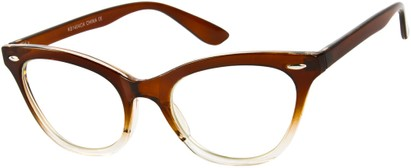 Angle of SW Clear Cat Eye Style #9155 in Brown/Clear Fade Frame, Women's and Men's