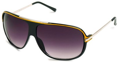 Angle of SW Oversized Aviator Style #445 in Black/Yellow Frame with Smoke Lenses, Women's and Men's