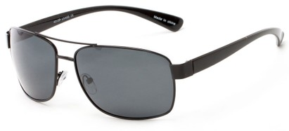Angle of Ortiz #4313 in Black Frame with Grey Lenses, Men's Aviator Sunglasses