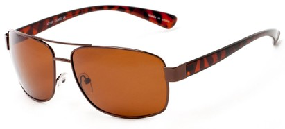 Angle of Ortiz #4313 in Bronze and Tortoise Frame with Amber Lenses, Men's Aviator Sunglasses