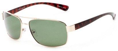 Angle of Ortiz #4313 in Gold and Tortoise Frame with Green Lenses, Men's Aviator Sunglasses