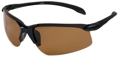 Angle of SW Polarized Sport Style #1194 in Black Frame with Amber Lenses, Women's and Men's