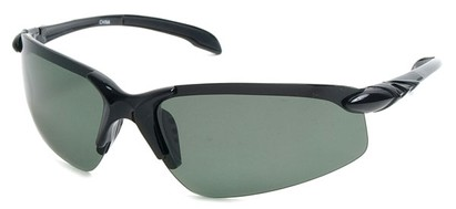Angle of SW Polarized Sport Style #1194 in Black Frame with Green Lenses, Women's and Men's
