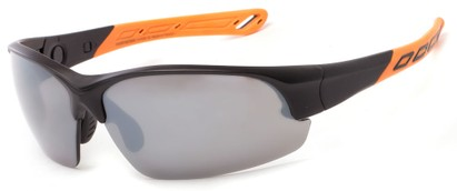 Angle of Neptuse #4605 in Black/Orange Frame with Grey Lenses, Women's and Men's Sport & Wrap-Around Sunglasses