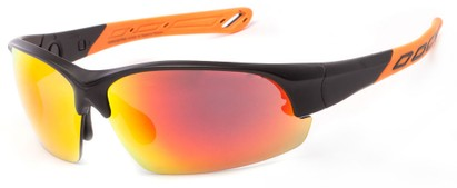 Angle of Neptuse #4605 in Black/Orange Frame with Yellow/Orange Mirrored Lenses, Women's and Men's Sport & Wrap-Around Sunglasses