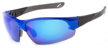 Angle of Neptuse #4605 in Blue/Grey Frame with Blue Mirrored Lenses, Women's and Men's Sport & Wrap-Around Sunglasses