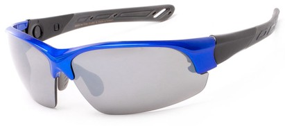 Angle of Neptuse #4605 in Blue/Grey Frame with Grey Lenses, Women's and Men's Sport & Wrap-Around Sunglasses