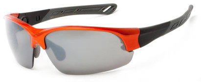 Angle of Neptuse #4605 in Orange/Grey Frame with Grey Lenses, Women's and Men's Sport & Wrap-Around Sunglasses
