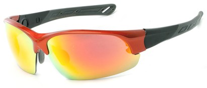 Angle of Neptuse #4605 in Orange/Grey Frame with Yellow/Orange Mirrored Lenses, Women's and Men's Sport & Wrap-Around Sunglasses