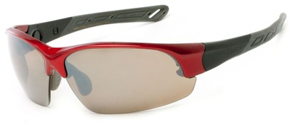 Angle of Neptuse #4605 in Red/Grey Frame with Grey Lenses, Women's and Men's Sport & Wrap-Around Sunglasses