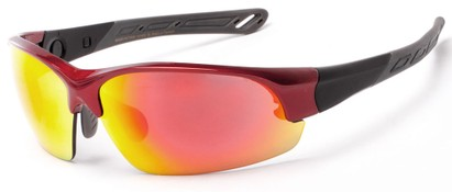 Angle of Neptuse #4605 in Red/Grey Frame with Yellow/Orange Mirrored Lenses, Women's and Men's Sport & Wrap-Around Sunglasses
