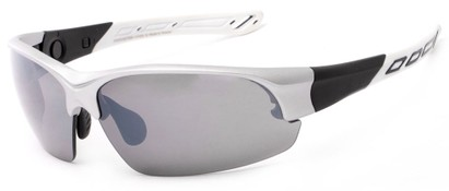 Angle of Neptuse #4605 in Silver/White Frame with Grey Lenses, Women's and Men's Sport & Wrap-Around Sunglasses