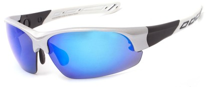Angle of Neptuse #4605 in Silver/White Frame with Blue Mirrored Lenses, Women's and Men's Sport & Wrap-Around Sunglasses