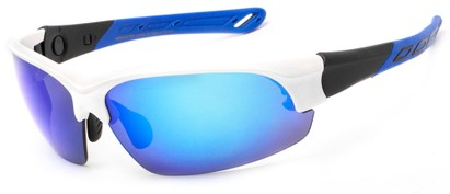 Angle of Neptuse #4605 in White/Blue Frame with Blue Mirrored Lenses, Women's and Men's Sport & Wrap-Around Sunglasses