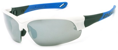 Angle of Neptuse #4605 in White/Blue Frame with Grey Lenses, Women's and Men's Sport & Wrap-Around Sunglasses