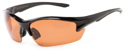 Angle of Moosehead #4619 in Glossy Black Frame with Copper Lenses, Men's Sport & Wrap-Around Sunglasses