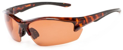 Angle of Moosehead #4619 in Glossy Tortoise Frame with Copper Lenses, Men's Sport & Wrap-Around Sunglasses