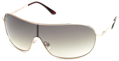 Angle of SW Shield Style #46 in Gold Frame with Light Green Lenses, Women's and Men's