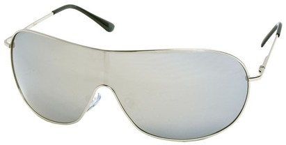 Angle of SW Shield Style #46 in Silver Frame with Mirror Lenses, Women's and Men's