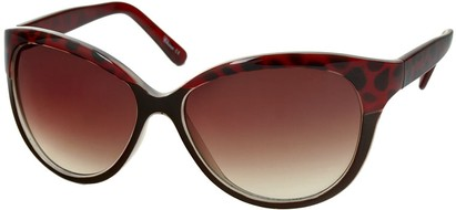 Angle of Sydney #37 in Brown and Red Leopard with Amber Lenses, Women's Cat Eye Sunglasses