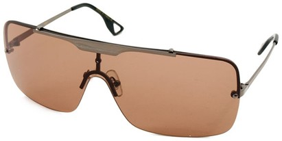 Angle of SW Shield Style #1160 in Grey Frame with Amber Lenses, Women's and Men's